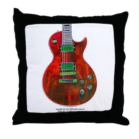 """Foil Red"" Guitar Throw Pillow"
