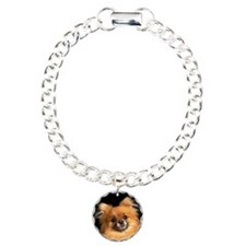 Pomeranian dog on red pi Charm Bracelet, One Charm