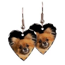 Pomeranian dog on red pillow,  Earring Heart Charm