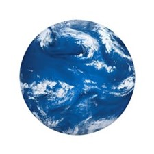 """Earth with water and clouds prominent  3.5"""" Button"""