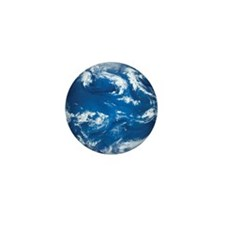 Earth with water and clouds prominent  Mini Button