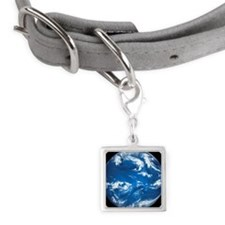 Earth with water and clouds p Small Square Pet Tag