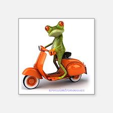"Around Cairns frog on Vespa Square Sticker 3"" x 3"""