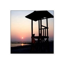 "Lifeguard Sunset Photo Square Sticker 3"" x 3"""