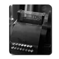 Antique cash register and credit card ma Mousepad