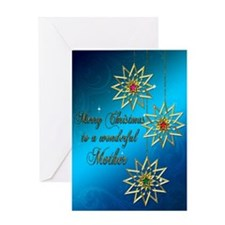 A blue Christmas card for a wonderful mother. Gree