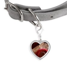 Weimaraner sleeping on red vel Small Heart Pet Tag