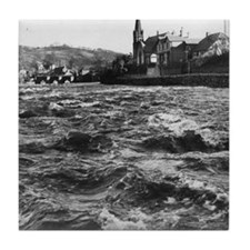 The flooded River Dee in spate in Lla Tile Coaster