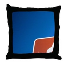Danger sign with picture of bison Throw Pillow