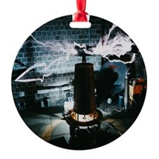 Tesla Coil Round Ornament