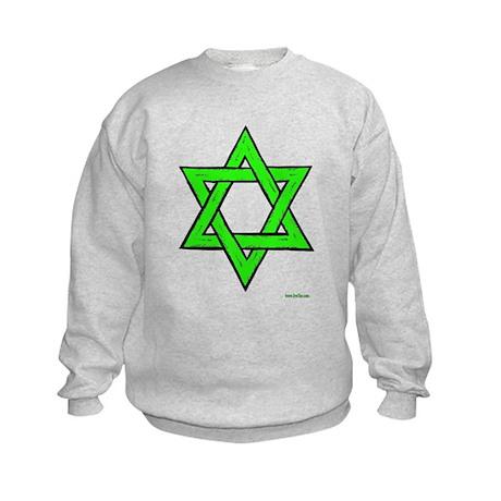 Jewish Green Star of David Kids Sweatshirt