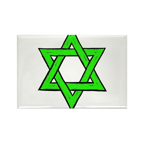 Jewish Green Star of David Rectangle Magnet