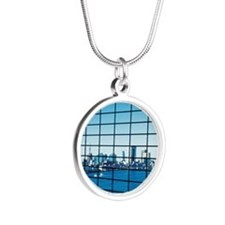 Reflection of Tokyo Bay in o Silver Round Necklace