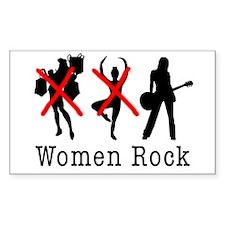 Women Rock Rectangle Decal