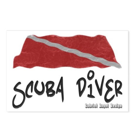 Scuba Diver Waves Postcards (Package of 8)