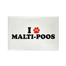 I Heart (Pawprint) Malti-Poos Rectangle Magnet