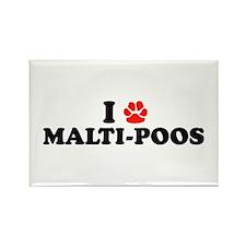 I Heart (Pawprint) Malti-Poos Rectangle Magnet (10