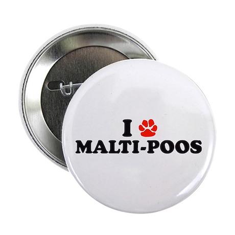 "I Heart (Pawprint) Malti-Poos 2.25"" Button (100 pa"