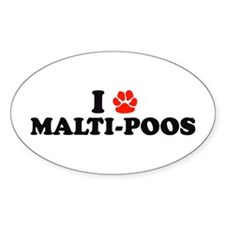 I Heart (Pawprint) Malti-Poos Oval Decal