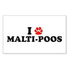 I Heart (Pawprint) Malti-Poos Sticker (Rectangular