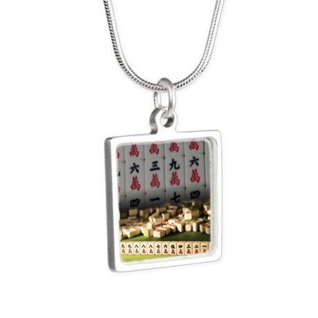 Rows of Mahjong Silver Square Necklace