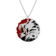Dalmatian lying down Necklace Circle Charm