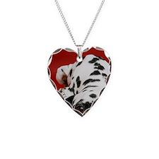 Dalmatian lying down Necklace Heart Charm