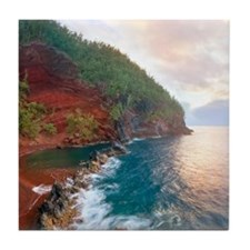 Sunrise at red sand beach in Hana, Ma Tile Coaster
