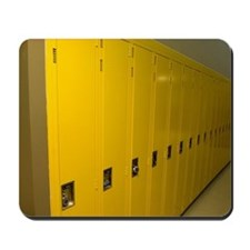 Row of yellow lockers in a hospital Mousepad