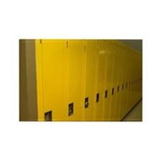 Row of yellow lockers in a hospit Rectangle Magnet