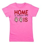 Home Is Where The Two Hearts Girl's Tee