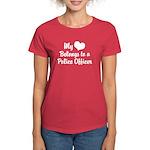 My Heart Belongs to a Police Women's Dark T-Shirt