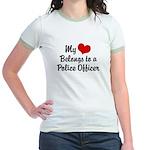 My Heart Belongs to a Police Jr. Ringer T-Shirt
