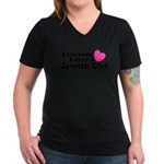 Everyone Loves a Jewish Girl Women's V-Neck Dark T