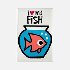 I Love My Fish Rectangle Magnet