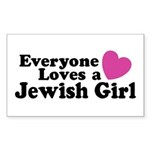 Everyone Loves a Jewish Girl Rectangle Sticker