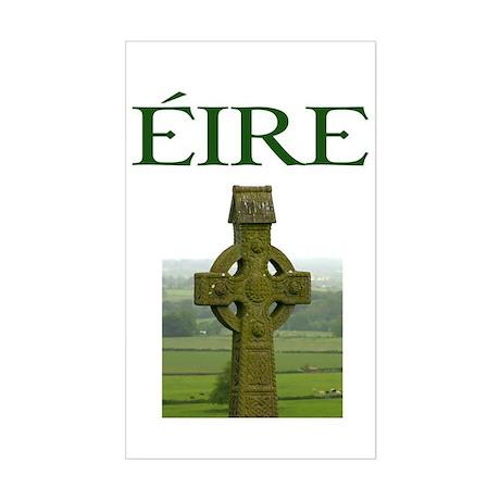 Eire Celtic Cross Sticker (Rectangle)