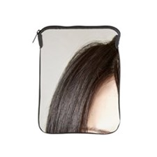 Woman with hand over mouth iPad Sleeve