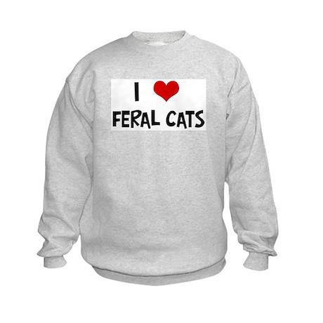 I Love Feral Cats Kids Sweatshirt
