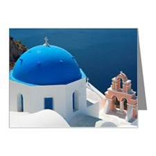 Blue domed church, Oia, Sant Note Cards (Pk of 10)