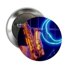 "Jazz saxophone and neon moon sign 2.25"" Button"