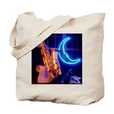 Jazz saxophone and neon moon sign Tote Bag