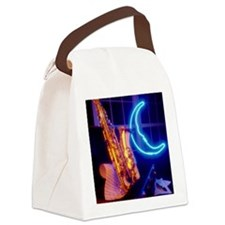 Jazz saxophone and neon moon sign Canvas Lunch Bag