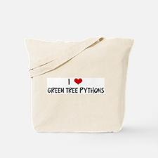 I Love Green Tree Pythons Tote Bag