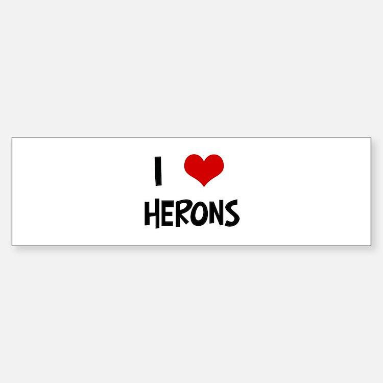 I Love Herons Bumper Bumper Bumper Sticker