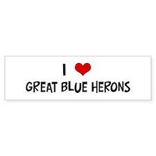 I Love Great Blue Herons Bumper Bumper Sticker