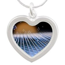 Piano music Silver Heart Necklace