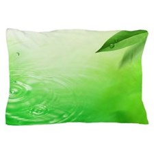 Green leaves and rippling water Pillow Case
