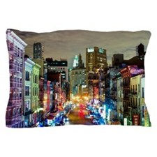 Urban rainbow: East Broadway at night Pillow Case