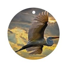 Eastern Great Egret Round Ornament